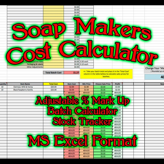 soap makers cost spreadsheet ms excel soaping calculator