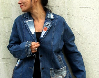 L-XL Crazy boro recycled and upcycled denim jeans jacket hippie boho