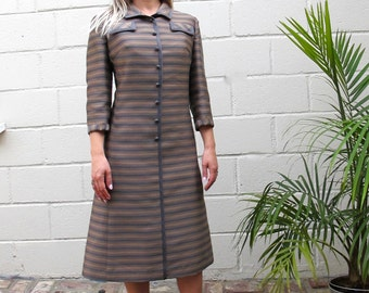 Vintage 1950's/60's Robert Leonard Button Front Striped A-Line Coat Dress Size Medium