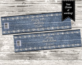 Denim and Diamonds Birthday Party Water Bottle label Digital Print Your Own
