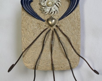 Concrete Angel - Blue/ Angel/Garden Art/Mixed Media/Assemblage/Found Object/