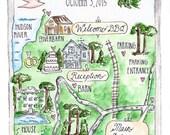 Floral Watercolor Wedding Map