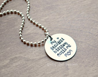 My Greatest Blessing- Hand Stamped Necklace
