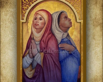 Saints Perpetua and Felicity Wood Icon & Holy Card GIFT SET, Patrons of Expectant Mothers #3153
