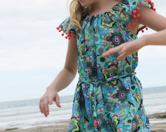 Psychedelic/Floral Print Summer Dress with Pom Pom Sleeve