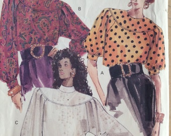 Gibson Girl Blouse From 1980's Romantic Blouse Pattern Vogue 7564 Size 8 10 12 Add Embroidery to the Yoke Three quarter sleeve Blouse
