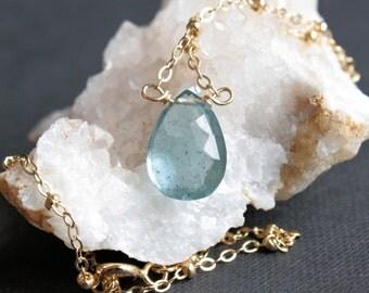 Moss Aquamarine Necklace // 14k Gold Fill // Blue Aquamarine Gemstone Necklace // gift for her