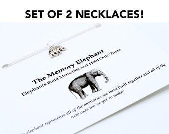 Friendship Necklace, Elephant Charm Necklace, Set Of 2 Necklaces, Best Friend Matching Necklaces, BFF Necklace Set, Bridesmakd Necklace Gift