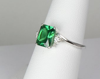 Sterling Silver Emerald Ring with Diamonds (Lab) / Emerald Engagement Ring Silver
