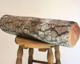Mossy Log pillow - made to order - decorative pillow - log decor - woodland