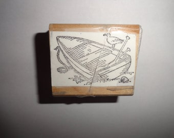 Boat w bird rubber wooden stamp 2 inch by 1 inch