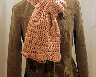 Lt Pink Long Crochet Scarf w/ Floral Appliqué