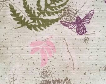 Barkcloth Era Fabric ~ Ferns Dragonflies Bugs ~  Mint Green