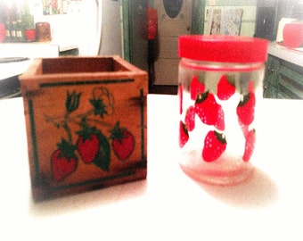 Vintage 1970s  Strawberry Crate and Strawberry Jar Set