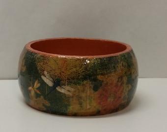 Handmade Decoupage Wood Bangle Bracelet-Dragonly-Copper
