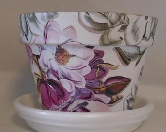 "Handmade Decoupage Terra Cotta Clay Flower Pot, Garden Decor, Azalea Pot, Magnolia Flowers 6"""