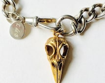 Antique Albert Chain Fob Bracelet with Skull