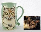 Shorthair cat mug, cat mug, cat portrait mug, send photo and get a graphic design of your cat, animal art, dishwasher, microwave safe 14 oz.