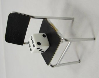 Vintage 1:12 Dollhouse Miniature Chair Mid Century Modern Chrome Metal Black Vinyl Seat