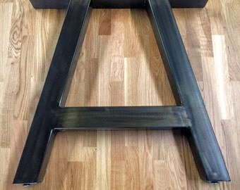 "A Frame Metal Table Legs - SET OF 2 - Heavy Duty 3"" Tube - Adjustable Leveling Feet"