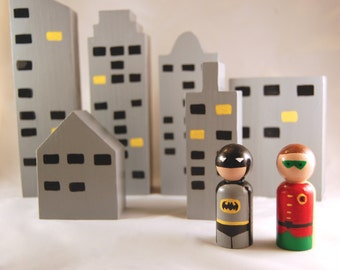 Hand Painted Wooden City Scape with Batman & Robin