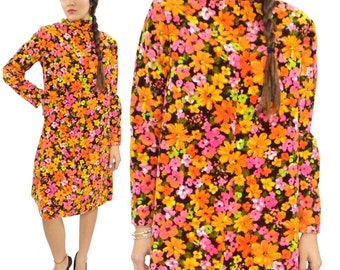 Vintage 70s Mod Floral Hippie Boho Trapeze Dress