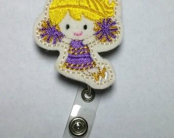 Purple and Gold Cheerleader Badge Reel- Football Nursing Badge Clip- Louisiana ID Badge- Basketball ID Holder