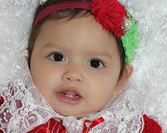 Christmas Headband, infant christmas headband, baby girl christmas headband, Flowers Headband, Infant Headbands, Baby Headband, Christmas