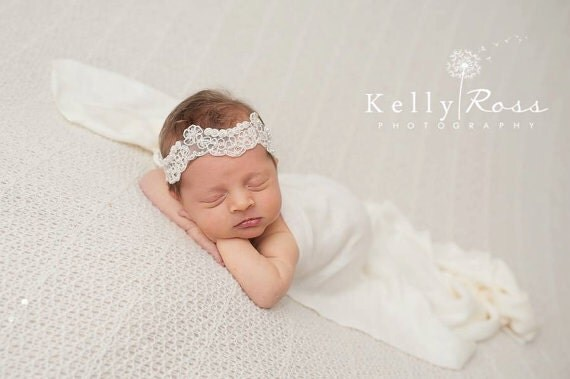 Infant Headbands, Baptism Headband, Embroidered Headband, Headband for Baptism, Ivory Headband, Headbands For Babies, Christening headband