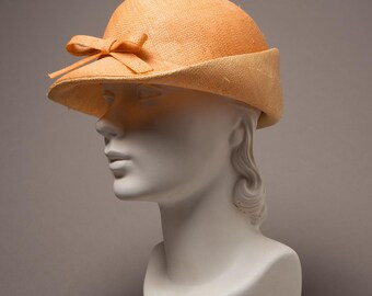 Peach Straw Cloche Hat