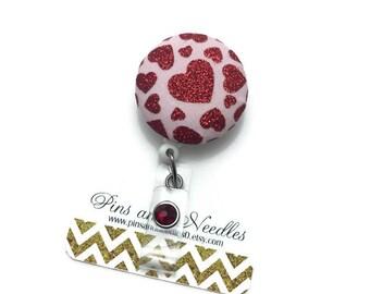 Heart ID Badge Reel - Retractable Badge Reel - Valentine's Day Badge Holder - Cute Id Badge Reels - Red Heart ID Badge Reel - Nurse Gifts