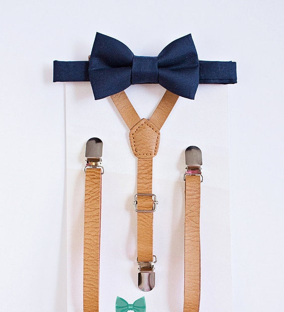 beige tan leather suspenders and navy bow