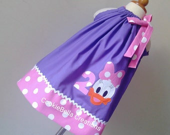 Daisy Duck Inspired Purple/Pink Polka Dot Pillowcase  Dress