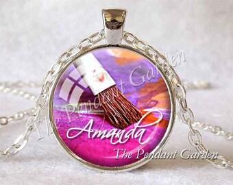 ARTIST PAINTBRUSH PENDANT Personalized Artist Jewelry Gift for Artist Gift Art Custom Art Paintbrush Art Teacher Gift Artists Necklace
