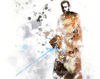 Obi-Wan Kenobi, Star wars ART PRINT illustration, Home Decor, Wall Art