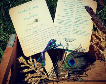 Paper Fans - Peacock Wedding Programs - Wedding Program Fans - Wedding Programs - Wedding Fans - Outdoor Wedding Programs - Peacock Programs