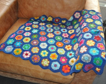 Granny Square Babyblanket Blue