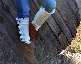 Leg warmers womens white off Lace trim Button Down leg warmers Womens lace Boot sleeve - cute wear peeking out like boot socks too by TTAcc