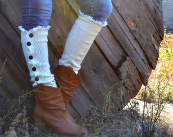 Leg Warmers, Women's Accessories, Boot Cuffs, boot socks - Button Lace Boot Cuffs Women's by TTAcc