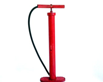 Vintage Tire Pump, Red Bicycle Pump, Bicycle Decor, Hand Pump, Air Pump, Red Decor, Industrial Decor, Man Cave Decor, Cycling Gift, Toy Room
