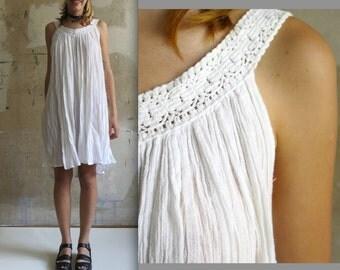 vtg 80s white like a virgin summer dress OS