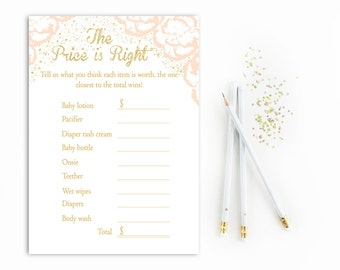 Pink Price is Right Baby Shower Game Printable, Pink Gold Price is Right, Girl Price is right Printable, Gold Glitter, DIY, PDF, Digital