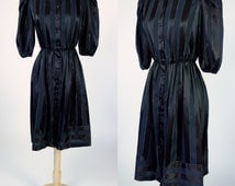 1980s black satin striped dress, metallic silver stripe dress, short sleeve elastic waist A line blouse dress, Medium