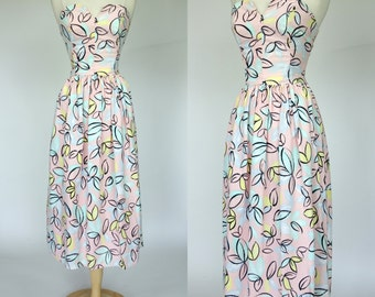 1980s pink floral strapless dress, fit and flare cotton summer spring dress, Medium, Large