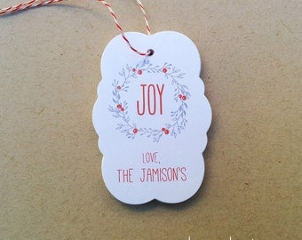 Personalized JOY holiday tags - Joy wreath gift tags - Custom Christmas gift tags - Modern holiday tags (TH-08)