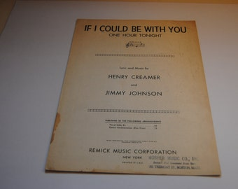 If I Could Be With You One Hour Tonight/Herny Creamer and Jimmy Johnson/copyright 1926