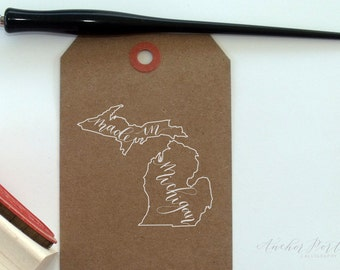 Hand Calligraphy Michigan Stamps | Choose one out of three designs | Made in Michigan | From Michigan | Michigan Home
