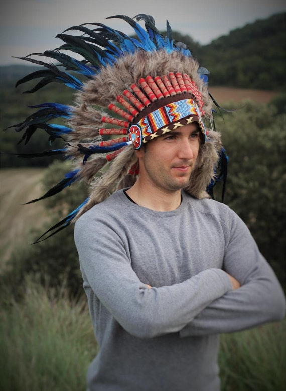 N54- Indian Electric Blue  and dark Feather Headdress / Warbonnet