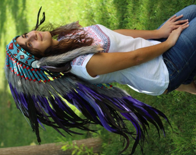 PRICE REDUCED Y24 Purple Feather Headdress (36 inch long )/war bonnet.