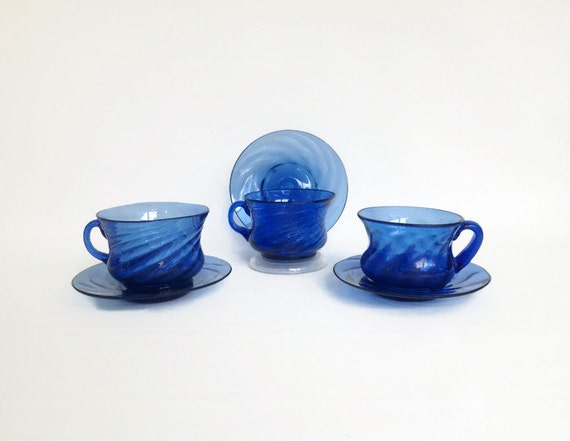 Hand Blown Glass Cups and Saucers 1950s Hand Blown Blue Glass
